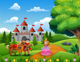 Cartoon princesses and princes in the castle page - 230343307