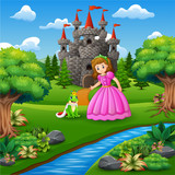 Fototapeta Child room - A beautifull fairytale Princess and the frog prince © dreamblack46
