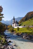 Church St. Sebatian in Ramsau Bavaria, Germany on a sunny spring day - 230344740