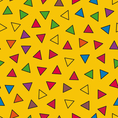 Vector seamless pattern with colorful triangles. Simple geometri