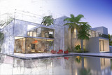 Draft and final rendering of luxurious villa - 230359552