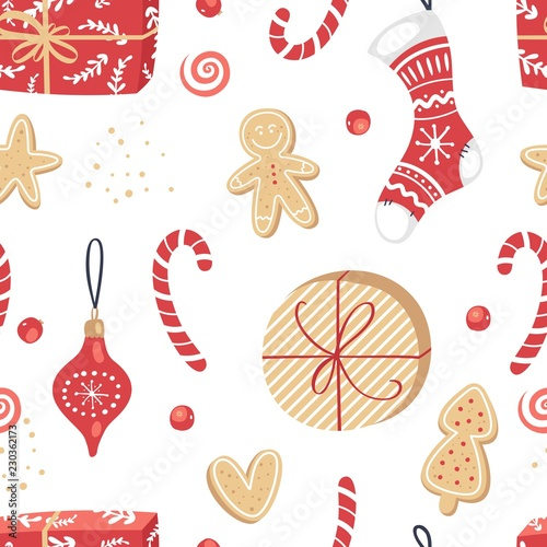fototapeta na ścianę Vector seamless pattern with christmas stuff