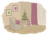 Living room graphic Christmas tree color interior sketch illustration vector - 230363354