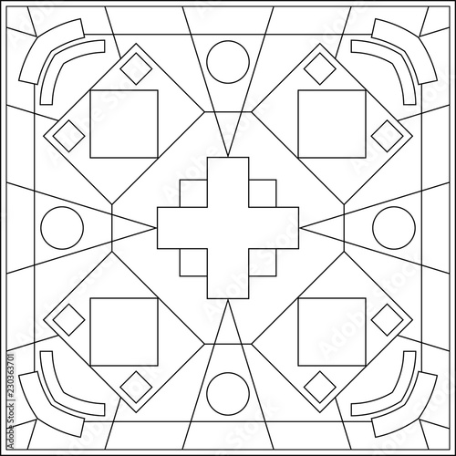 Geometric Coloring Page, Geometric Shape Outline, Geometry