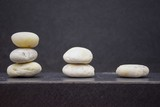 Gradient stones on table with free space and blur background - 230365511