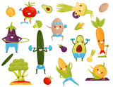 Funny vegetables doing sports, sportive avocado, corncob, eggplant, broccoli, cucumber, carrot, tomato, pepper, potato cartoon characters doing fitness exercises vector Illustration on a white