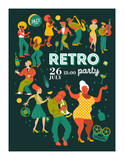 Poster music festival, retro party in the style of the 70's, 80's. A large set of characters, musicians, dancers and singers. Vector illustration.