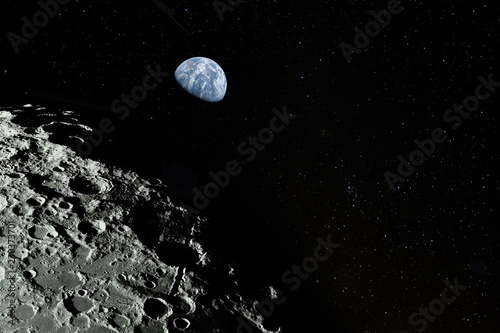 Moon surface, stars and planet Earth above. Elements of this image furnisfurnished by NASA.