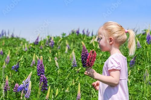 Leinwanddruck Bild Mädchen pflückt Blumen auf einer Blumenwiese