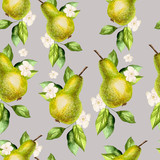 Watercolor Pattern with pears and flowers.  - 230377704