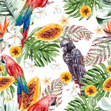 Beautiful watercolor tropical pattern with leaves, fruits and parrots.  - 230377714