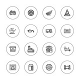 Collection of 16 outline transportation icons