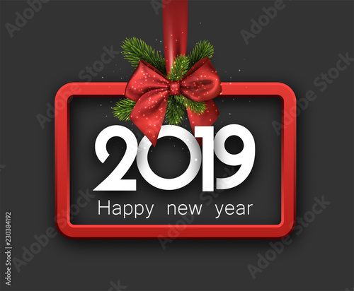 grey 2019 happy new year background with red frame and bow
