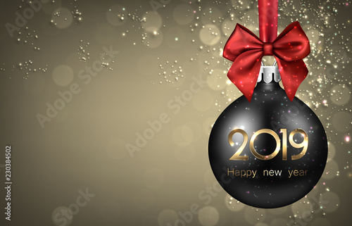 Gold 2019 New Year background with black Christmas ball.
