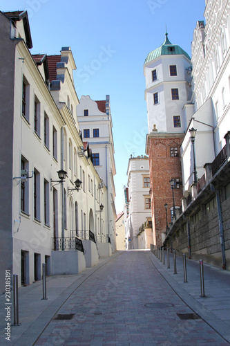 Buildings of Szczecin old town, west Poland. Architecture of narrow streed in castle neighbourhood. - 230385191