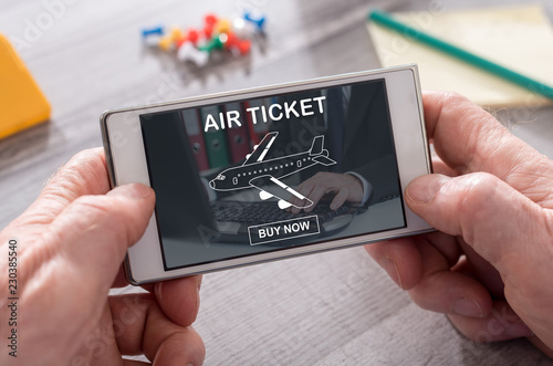 Foto Murales Concept of air ticket booking