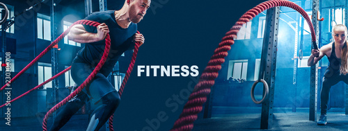 Collage about man and woman with battle ropes exercise in the fitness gym. CrossFit concept. gym, sport, rope, training, athlete, workout, exercises concept - 230386708
