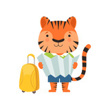 Cheerful tourist tiger, cute animal cartoon character travelling on summer vacation vector Illustration on a white background
