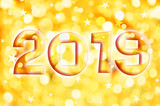 2019 greeting card on golden shiny holiday lights background - 230388558