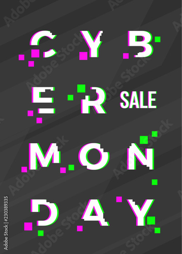 Cyber Monday Sale Abstract Vector Card, Flayer or Poster Template. Modern Typography, Pixels and Glitch Effect. Electronics Discount Offer Vertical Banner. Dark Distorted Background
