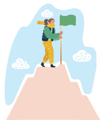 Woman with flag on a Mountain peak. © iracosma