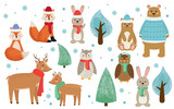 Set of winter forest animals dressed in clothes. Cute cartoon fox, rabbit, bear, deer, owl and trees. Christmas set. Kids style flat vector illustration. - 230392329