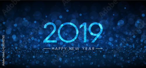 blue bokeh 2019 happy new year banner