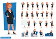 set of Business Woman showing different gestures character vector design.