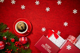 christmas gifts decoration on red background - 230394996