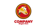 happy funny Cartoon Rooster chicken logo icon design template.vector illustration
