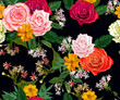 Roses and littles flower seamless pattern - 230396329