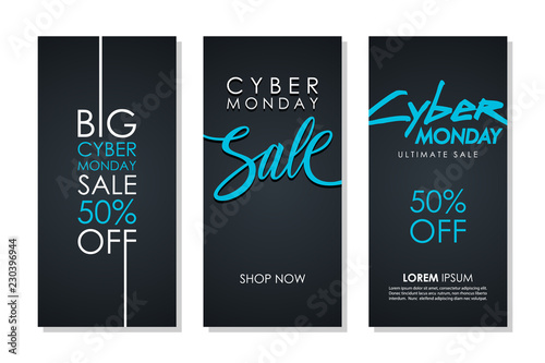 Cyber Monday Sale promotional flyers set with hand lettering for business, commerce, discount shopping and advertising. Vector illustration.
