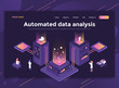 Flat Modern design of website template - Automated data analysis