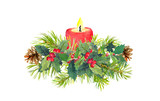 Branches of Christmas tree, candle, mistletoe. Watercolor composition