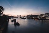 Glowing sunrise over Tower Bridge in London