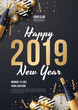 Happy New Year Background Vector. Greeting Card Design Template. Vector Illustration