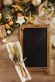 Christmas or New Year table setting.  Menu blackboard frame   for  Christmas Dinner. Holiday Decorations. - 230404712