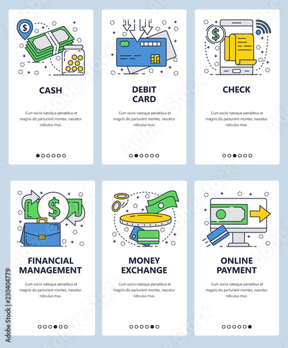 0edec2410 Vector web site linear art onboarding screens template. Business and  finance icons. Money transfer