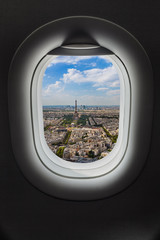 Paris France in airplane window