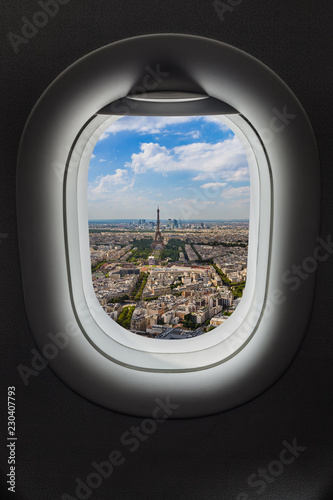 Paris France in airplane window