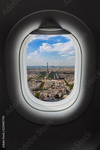 Leinwanddruck Bild Paris France in airplane window