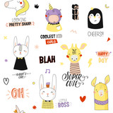 Super cute animal seamless pattern in vector. Trendy illustration with funny animals and cool typography. White background. Panda, bear, zebra, penguin, dog. Scandinavian kids collection