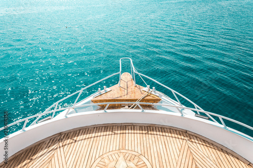 luxury yacht, stern interior, comfortable design for rest leisure tourism travel