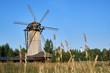Leinwanddruck Bild - Wooden windmill with ears of wheat growing in the field on the foreground