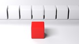 Line of white cubes in front of a red one - 3D rendering - 230419134