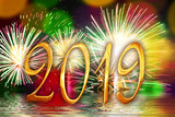 2019 golden numbers, fireworks background - 230422559