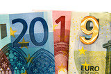 CLose up on 2019 written with euros bank notes - 230422992