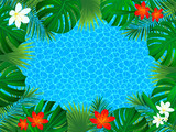 Floral tropical frame. vector exotic flowers illustration. background with jungle plants, palms leaves. sea texture. Horizontal border frame. beautiful tropic seascape. Summer vacation design. - 230424951