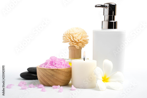 beautiful spa treatment set isolate on white - 230428911