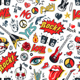 Rock Sing on Seamless Pattern Vector Illustration
